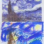 ゴッホ「糸杉」の模写